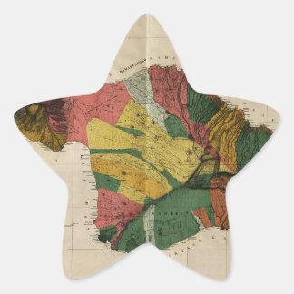 Maui - Vintage Antiquarian Hawaii Survey Map, 1885 Star Sticker