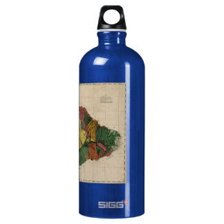 Maui - Vintage Antiquarian Hawaii Survey Map, 1885 Water Bottle