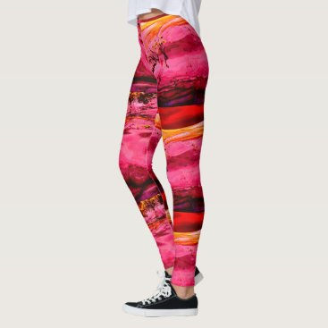 Beach Themed Maui waves Thunder_Cove pink/red Leggings