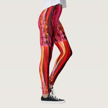 Beach Themed Maui waves Thunder_Cove pink/red striped Leggings
