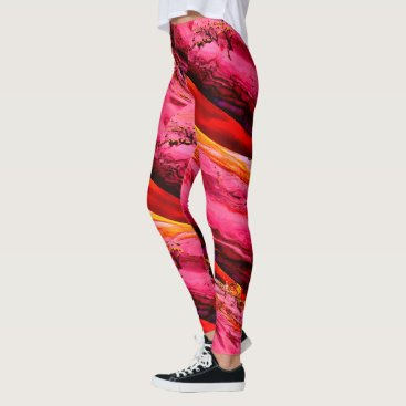 Beach Themed Maui waves Thunder_Cove pink/red stripes Leggings