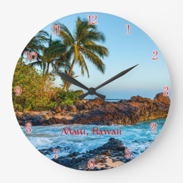 Beach Themed Maui's Secret Beach Round Clock with red numerals