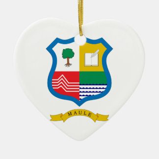 Maule, Chile, Chile Double-Sided Heart Ceramic Christmas Ornament