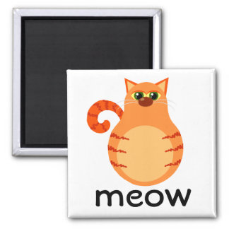 Maullido anaranjado del dibujo animado del gato de imán de frigorífico