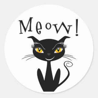 ¡Maullido caprichoso del gato negro! Pegatina Redonda