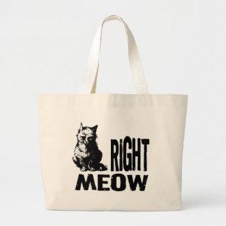 ¡MAULLIDO correcto! Gatito malvado divertido Bolsa Tela Grande