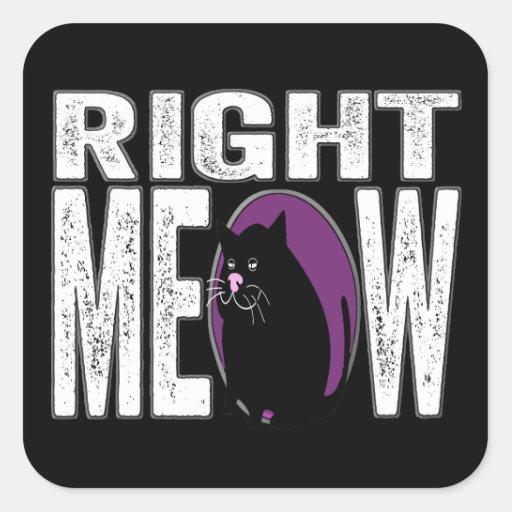 ¡MAULLIDO correcto! Lengua divertida del gato del Calcomania Cuadradas Personalizada