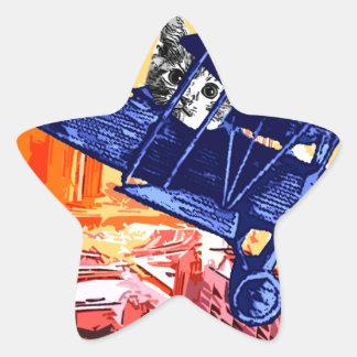 Maullido del combatiente pegatina en forma de estrella