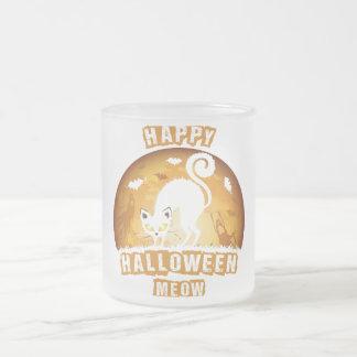 maullido del feliz Halloween Taza De Café Esmerilada