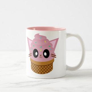 maullido del gato del helado del cono del gatito taza de café de dos colores