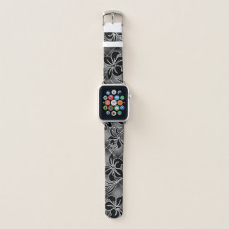 Mauna Loa Hawaiian Hibiscus Gray Plaid Apple Watch Band