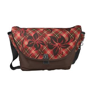 Mauna Loa Hibiscus Plaid Messenger Bag