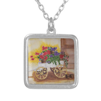 Maura Ganley Flower Cart Neck Lace Silver Plated Necklace