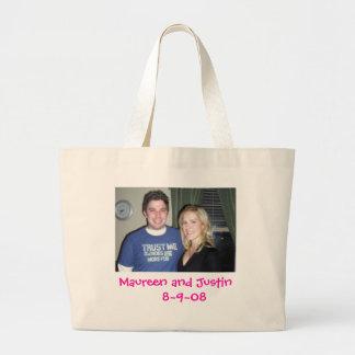 Maureen and Justin    8~9~08 Large Tote Bag