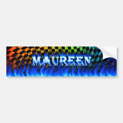 Maureen blue fire and flames bumper sticker design