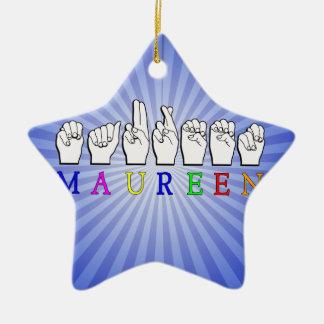 MAUREEN FINGERSPELLED NAME ASL SIGN Double-Sided STAR CERAMIC CHRISTMAS ORNAMENT