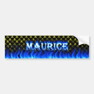 Maurice blue fire and flames bumper sticker design car bumper sticker