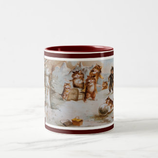 Maurice Boulanger's Christmas Cats Two-Tone Coffee Mug