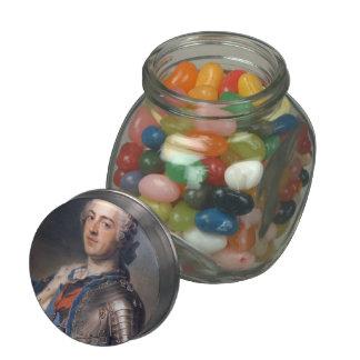 Maurice de La Tour- Portrait of King Louis XV Glass Candy Jars