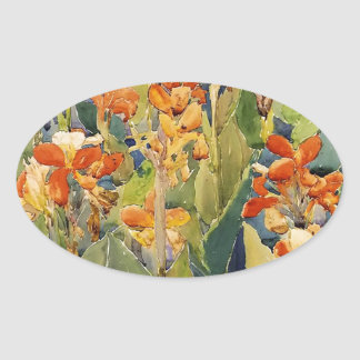 Maurice Prendergast Bed Of Flowers Oval Sticker