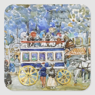 Mauricio Prendergast- el Omnibus de París Calcomania Cuadradas Personalizadas