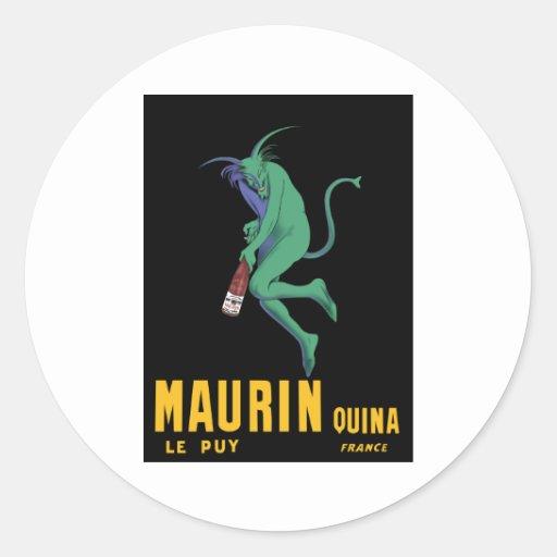 Maurin Quina - Cappiello 1906 - ajenjo Apertif Pegatina Redonda