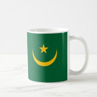 Mauritania - bandera mauritana taza básica blanca