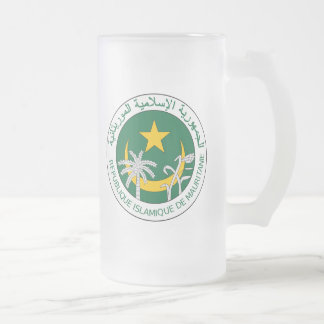 Mauritania Coat Of Arms Frosted Glass Beer Mug