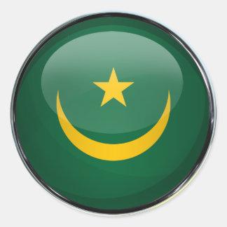 Mauritania Flag Glass Ball Classic Round Sticker