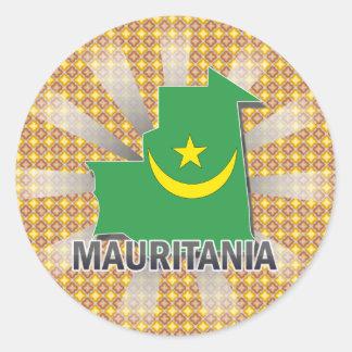 Mauritania Flag Map 2.0 Classic Round Sticker