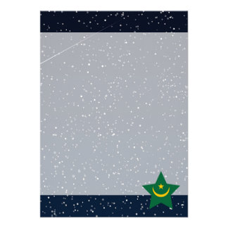 "Mauritania Flag Star In Space 5"" X 7"" Invitation Card"