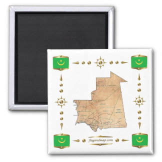 Mauritania Map + Flags Magnet