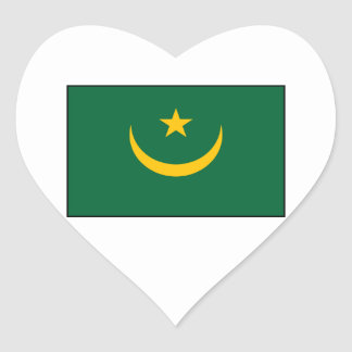 Mauritania - Mauritanian Flag Heart Sticker