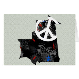 Mauritania Trendy Peace Sign with Martiniquais map Greeting Card