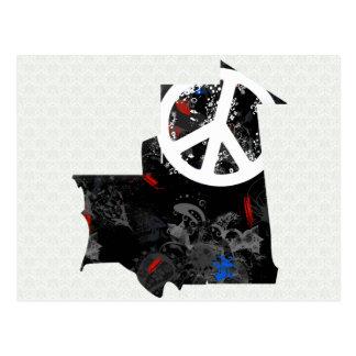Mauritania Trendy Peace Sign with Martiniquais map Postcard