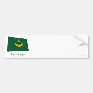 Mauritania Waving Flag with Name in Arabic Bumper Sticker