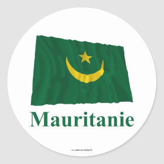 Mauritania Waving Flag with Name in French Classic Round Sticker