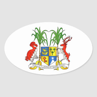 Mauritius Coat of Arms Oval Sticker