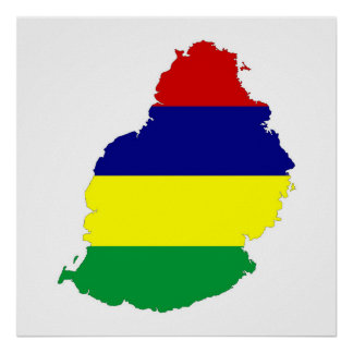 mauritius country flag map shape symbol poster