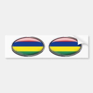 Mauritius Flag Glass Oval Bumper Sticker