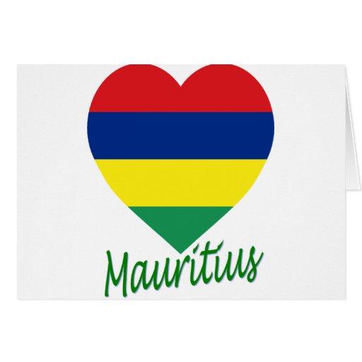 Mauritius Flag Heart Card