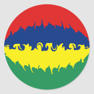 Mauritius Gnarly Flag Classic Round Sticker