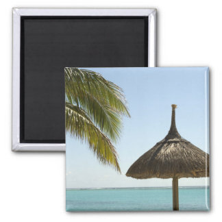 Mauritius. Idyllic beach scene with umbrella 2 Inch Square Magnet