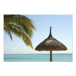 Mauritius. Idyllic beach scene with umbrella Art Photo