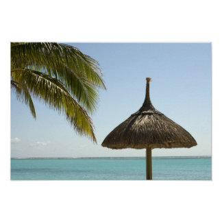 Mauritius. Idyllic beach scene with umbrella Poster