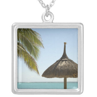 Mauritius. Idyllic beach scene with umbrella Square Pendant Necklace