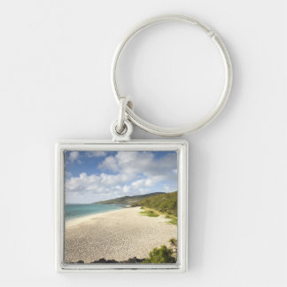 Mauritius, Rodrigues Island, St. Francois, St. Silver-Colored Square Keychain
