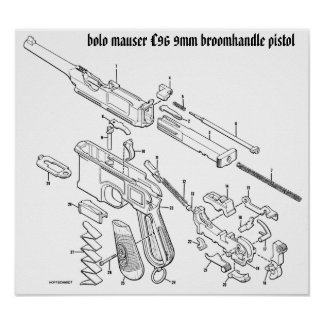 Mauser C96 9mm broomhandle poster