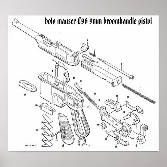 mauser c96 9mm broomhandle poster zazzle com