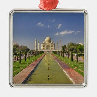 Mausoleo del Taj Mahal/Agra, la India 2 Adorno Navideño Cuadrado De Metal